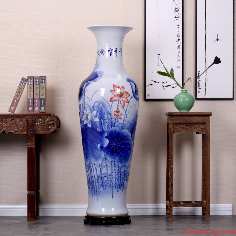 Jingdezhen ceramic big new Chinese style living room hand - made porcelain vase peony large landing place hotel gift