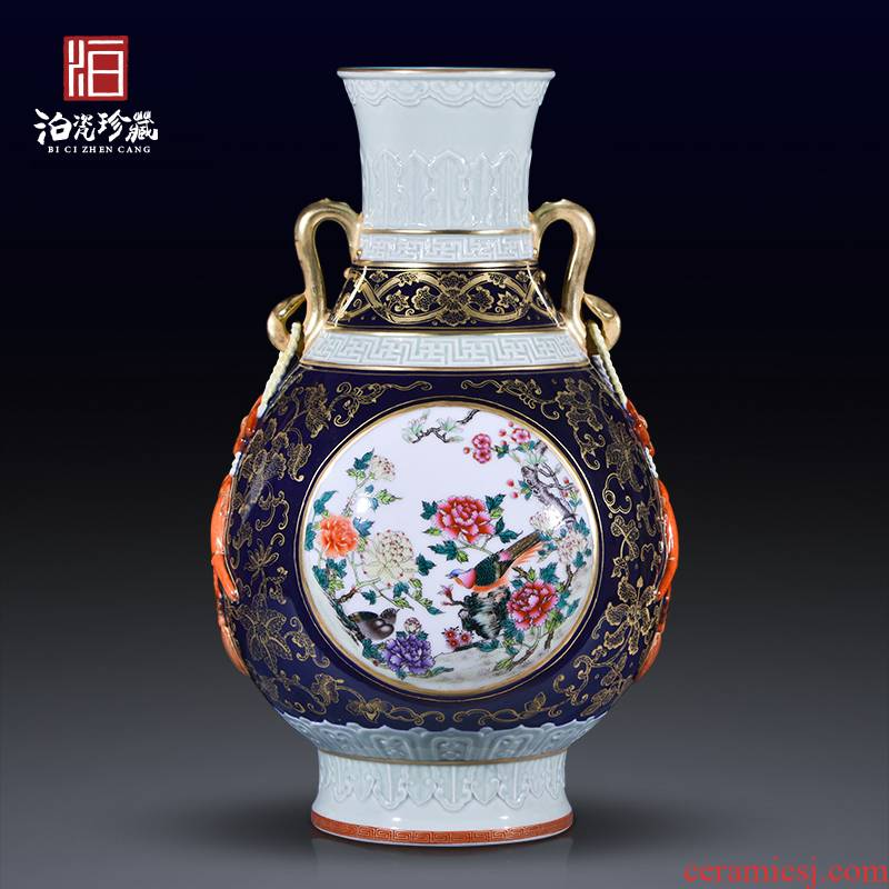 Jingdezhen ceramics high copy qianlong pastel ears okho spring vases, sitting room of the new Chinese style household adornment furnishing articles