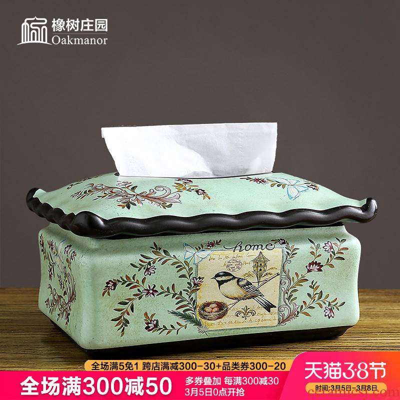 American table tissue box ceramic creative home furnishing articles European household retro smoke box sitting room tea table decoration