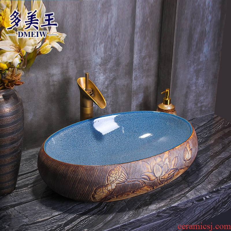 Retro art basin stage basin of elliptic toilet lavabo ceramic face basin mesa of household washing a face on stage