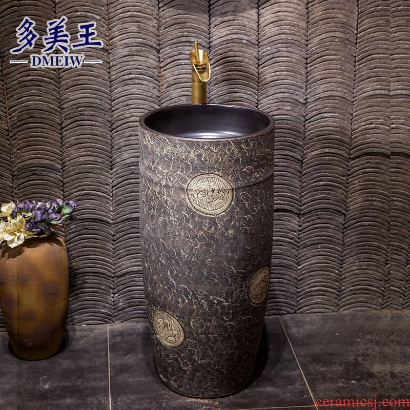 Retro pillar basin bathroom balcony one floor pillar lavabo ceramic vertical lavatory basin