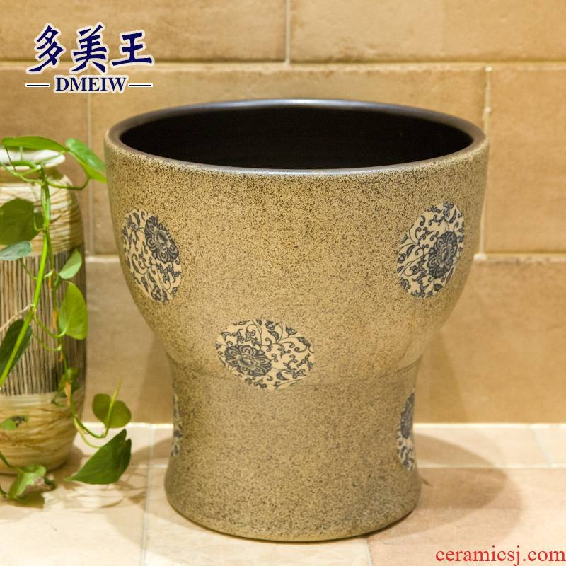 Ceramic size balcony art basin mop mop pool ChiFangYuan one - piece mop pool diameter 40 blue and white