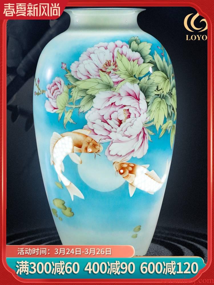 Jingdezhen ceramics hand - made vases, flower arrangement sitting room adornment flowers Chinese style household TV ark, handicraft furnishing articles