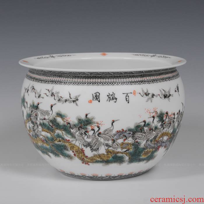 Jingdezhen ceramics hand - made enamel vase sitting room place, Zhang Bingxiang household act the role ofing is tasted writing brush washer from arts and crafts