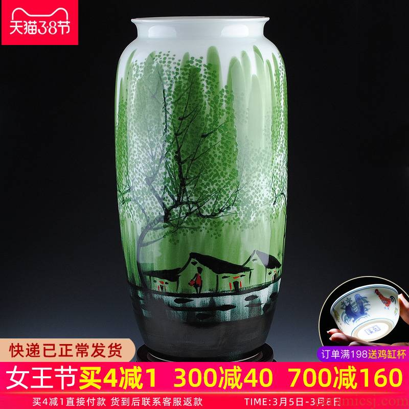 Jingdezhen ceramic vase large landing hand - made jiangnan spring quiver hotel flower arrangement sitting room adornment is placed