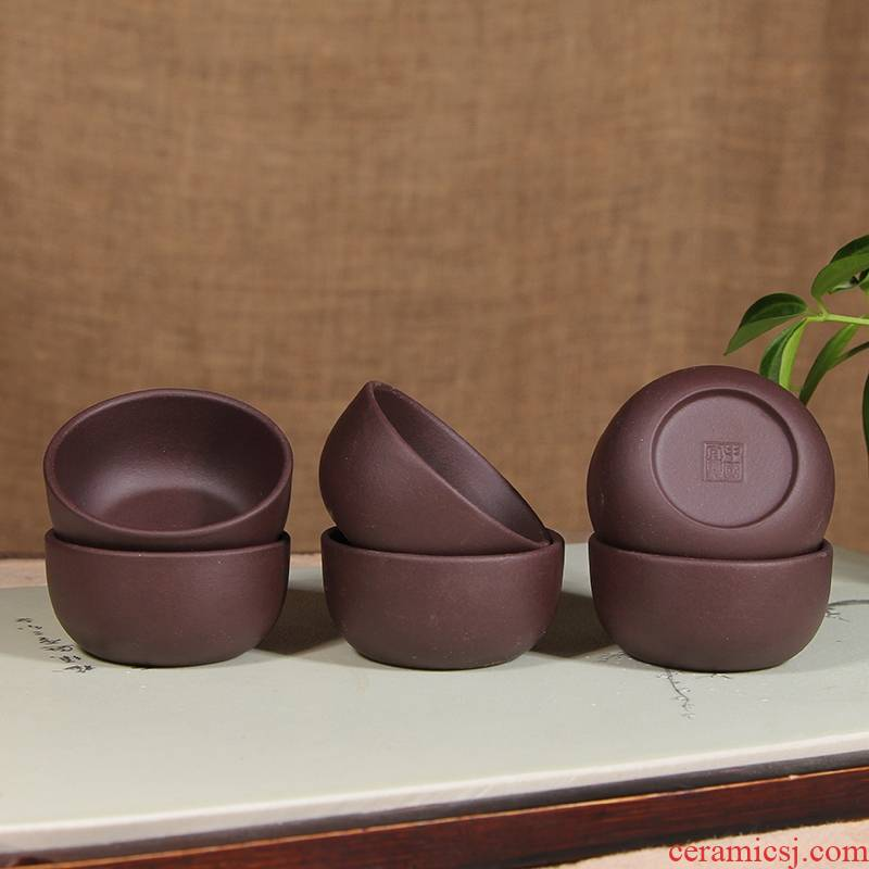 Yixing purple red manual violet arenaceous mud sample tea cup noggin 6 small bowl only kung fu master single cup eight tea sets