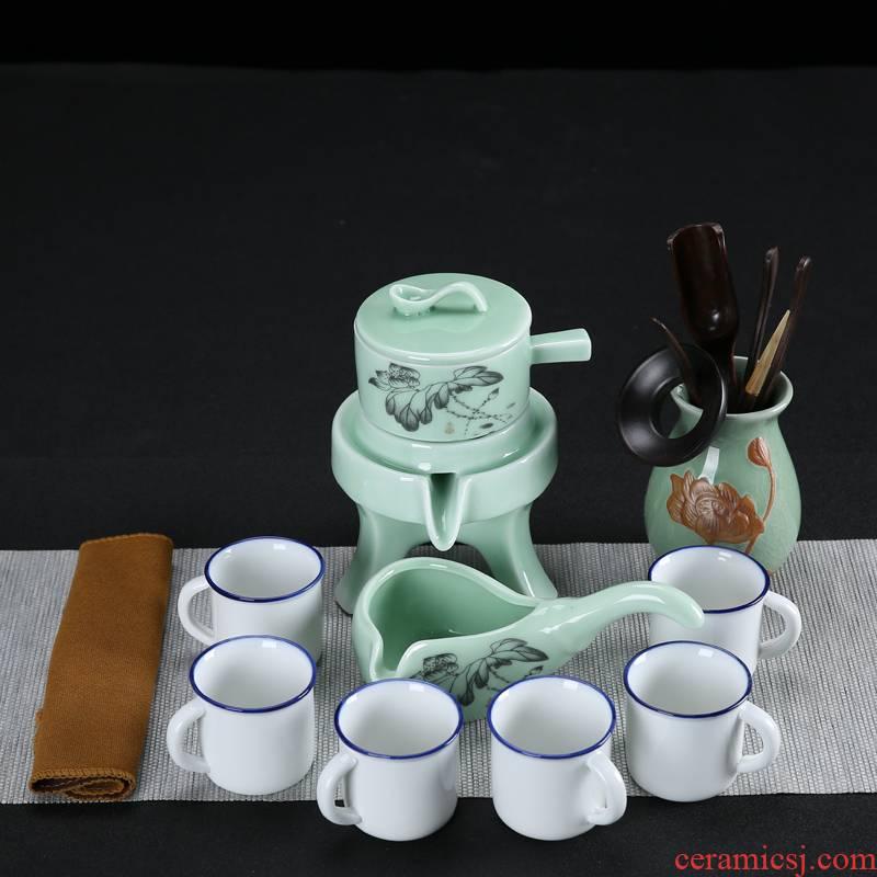 Kung fu tea set tea cup stone mill small household contracted and I lazy teapot ceramics semi automatic tea