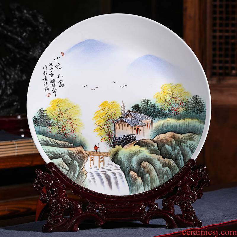 Jingdezhen ceramic masters hand - made scenery hang dish decorative plate Chinese style home sitting room adornment is placed in the living room