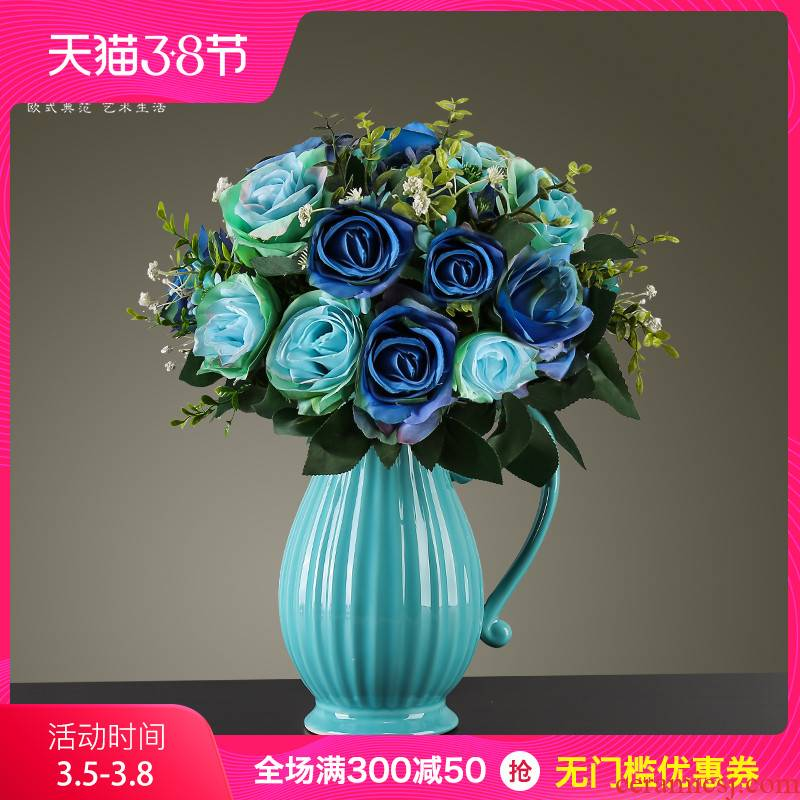 European fashion creative vase home sitting room adornment is placed the table simulation flower arranging ceramic handicraft decoration