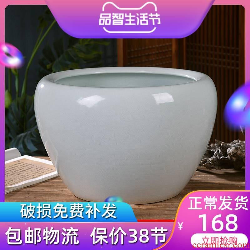 Jingdezhen ceramic aquariums circular goldfish bowl big sitting room ground is suing koi cylinder fish basin of borneol