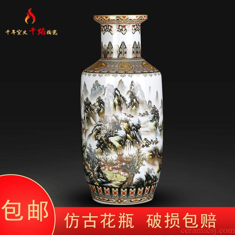 Jingdezhen ceramics large vases, flower arranging Chinese style living room home rich ancient frame furnishing articles hand - made scenery figure firecrackers bottle