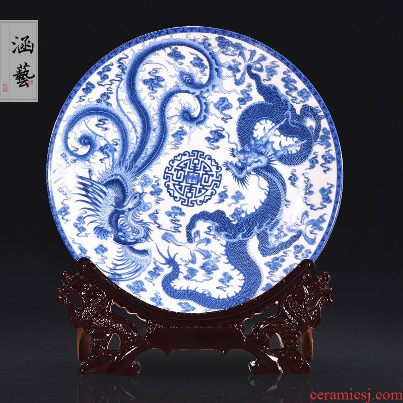 Jingdezhen ceramics in extremely good fortune to decorate dish by dish hang dish of new Chinese style living room porch handicraft furnishing articles