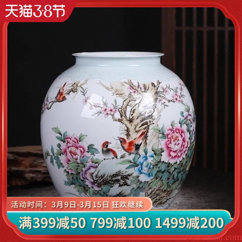 Jingdezhen ceramics vase famous hand - made flowers peony vases, flower implement the sitting room is the study of new Chinese style furnishing articles