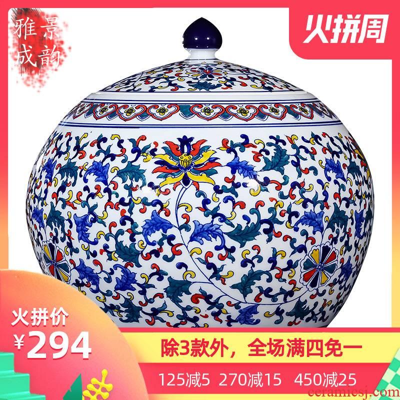 Blue and white porcelain of jingdezhen ceramics seal storage tank large general storage jar China snacks dry goods