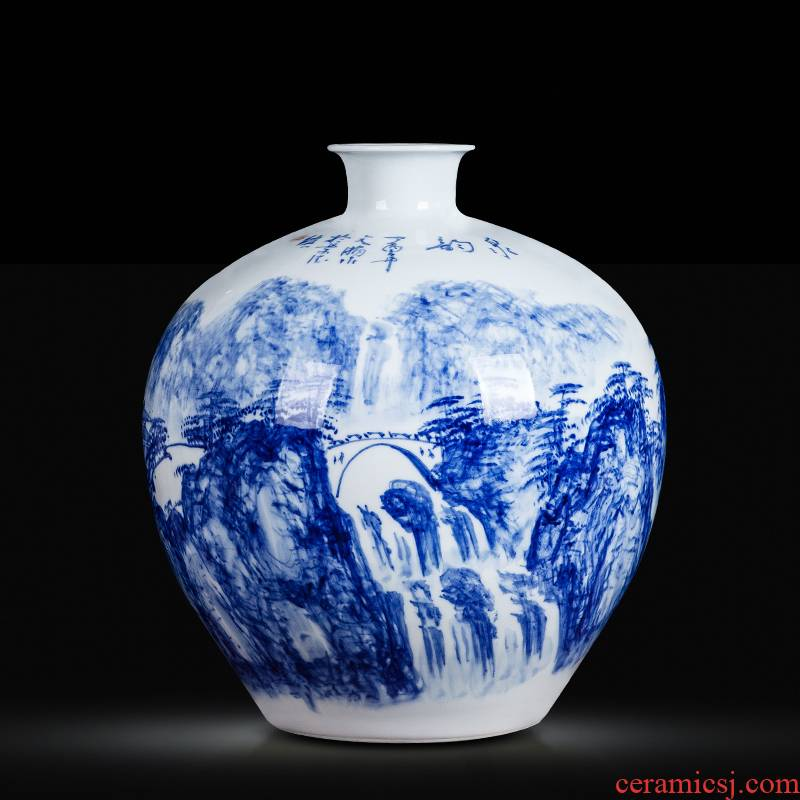 Jingdezhen blue and white ceramics hand - made vases, flower arrangement sitting room of Chinese style household wine cabinet office furnishing articles ornament