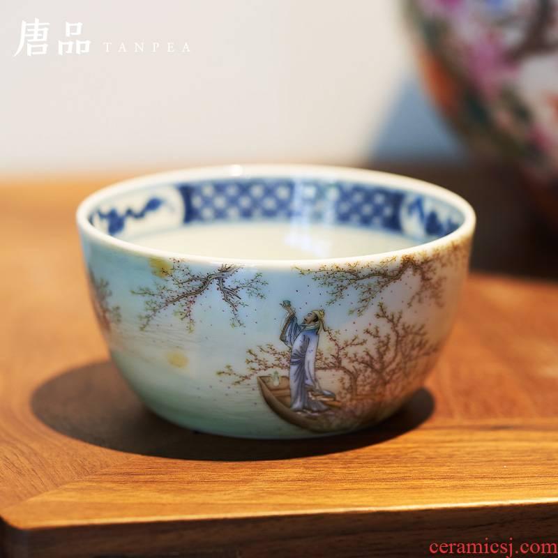 Pastel blue glasses full moon teacup, poetic masters cup tuba li bai bowl of jingdezhen ceramic tea set