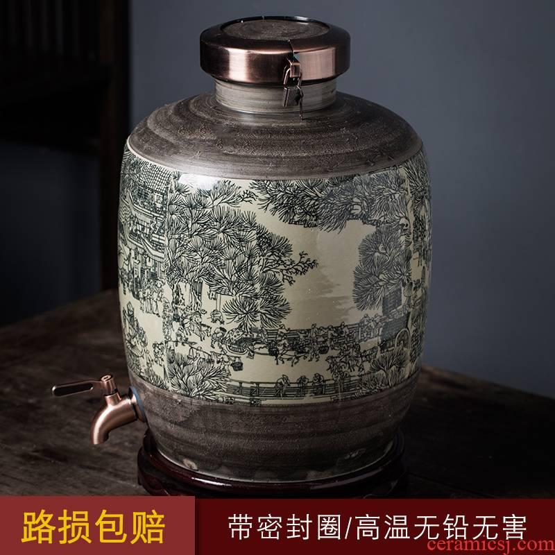 Jingdezhen ceramic jars 20 jins 30 jin liquor cylinder wine pot of medicine wine archaize 50 household seal pot
