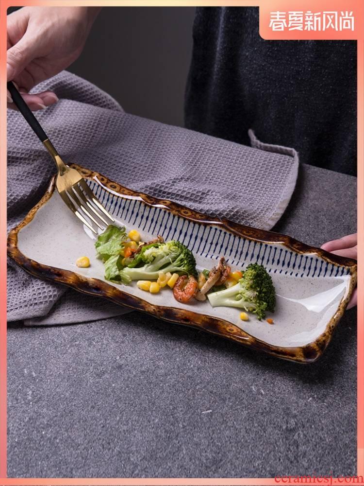 Hotel, restaurant Japanese restaurant ceramic strip plate sushi plate special - shaped dish dish dish dessert dish sashimi dish plate