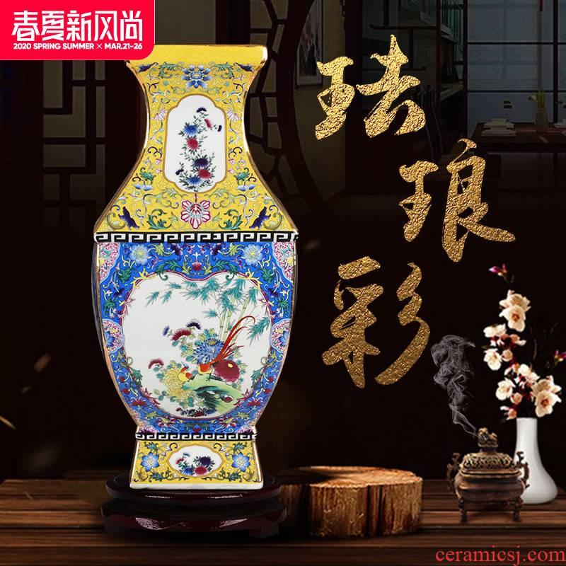 Jingdezhen ceramics vase furnishing articles archaize enamel pastel color porcelain square bottle gift classical household ornaments