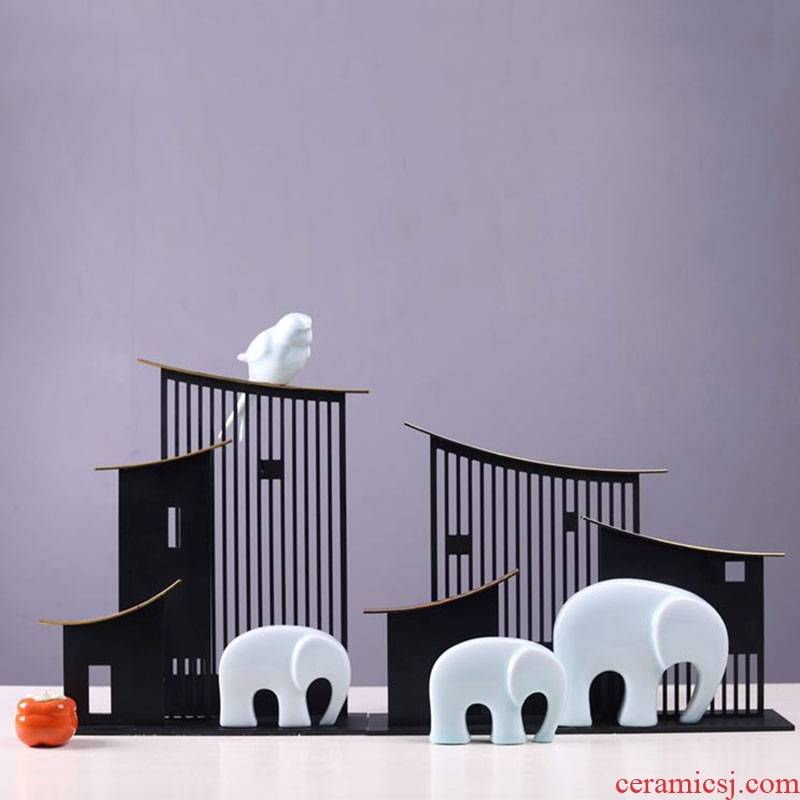 Ceramic elephant furnishing articles to feng shui like creative household adornment bedroom living room TV cabinet bridal chamber like furnishing articles