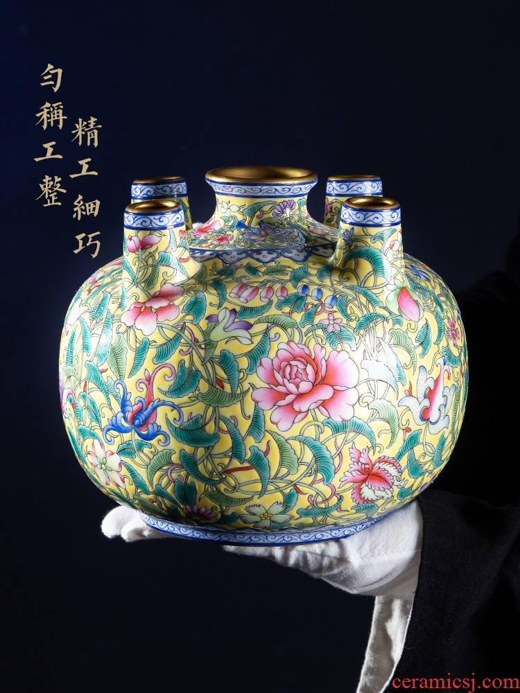 Jia lage jingdezhen ceramic vase YangShiQi ZhiHuang pastel flowers to five bottles of China