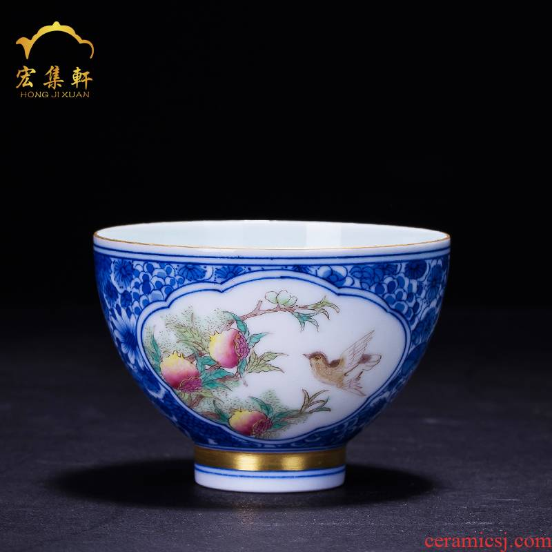 Jingdezhen blue and white see pomegranate sample tea cup bowl master kung fu tea cups ceramic tea set of single CPU small tea cups