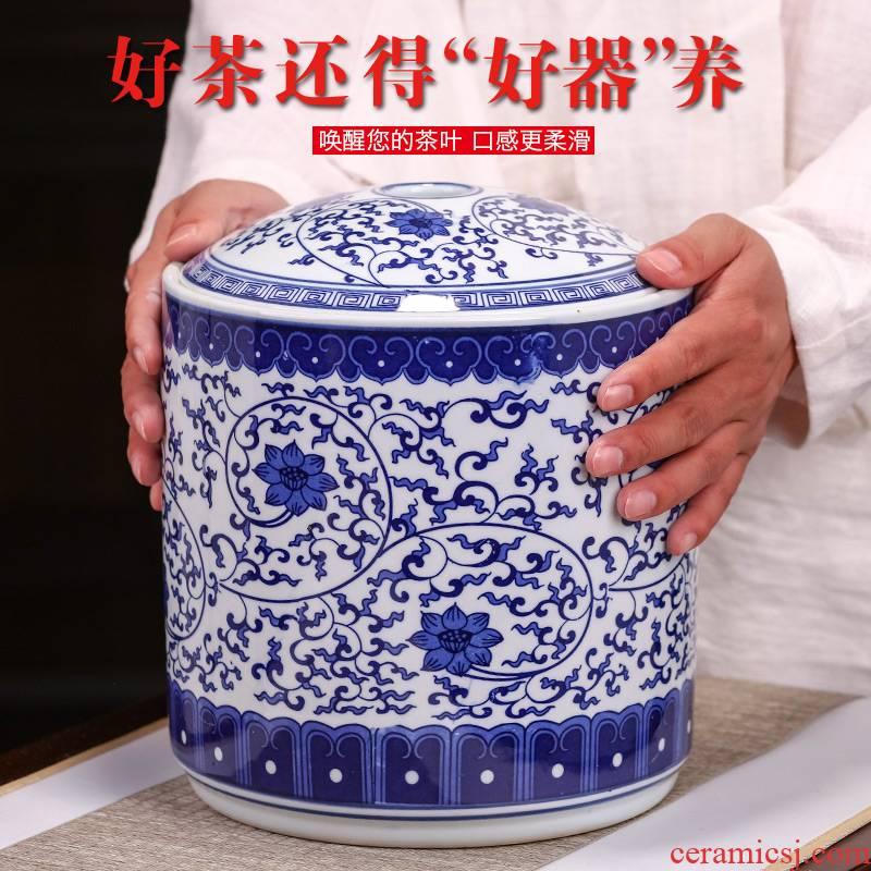 Jingdezhen blue and white porcelain tea pot ceramic seal pot store receives large pu - erh tea tea cake, the seventh, peulthai the household