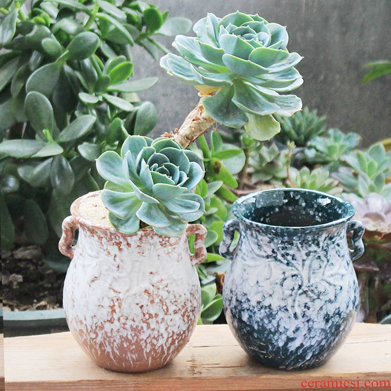 Old running the pot clay ceramic up zhuang zi mage, coarse pottery creative Chinese wind flesh flower pot in a large, fleshy