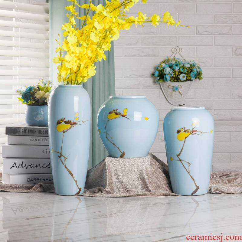 Jingdezhen new Chinese vase zen ceramic furnishing articles contracted and I living room TV cabinet ikea vase three - piece suit