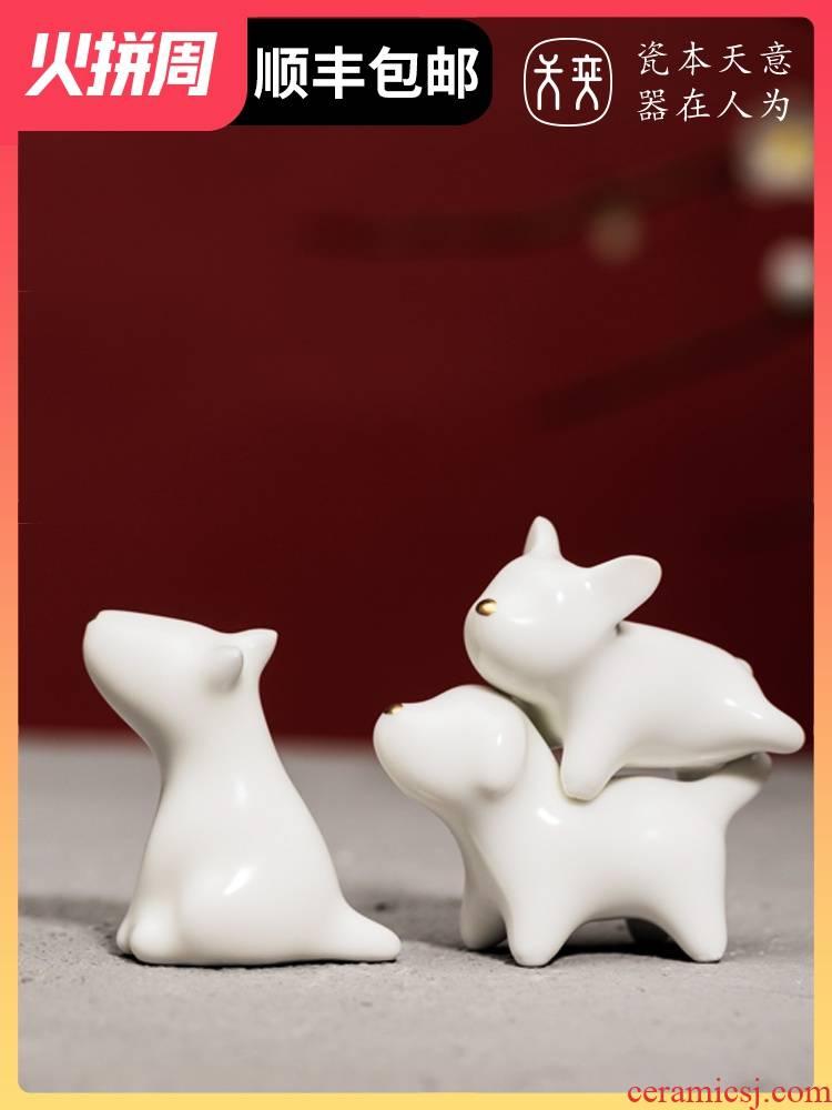 The three musketeers jingdezhen ceramic dog furnishing articles, lovely creative desktop trinkets, graduation season gifts souvenirs