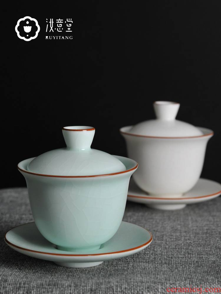 Your up three just tureen ceramic bowl with a single three cups just a cup of tea bowl of kongfu tea white porcelain hand grasp pot