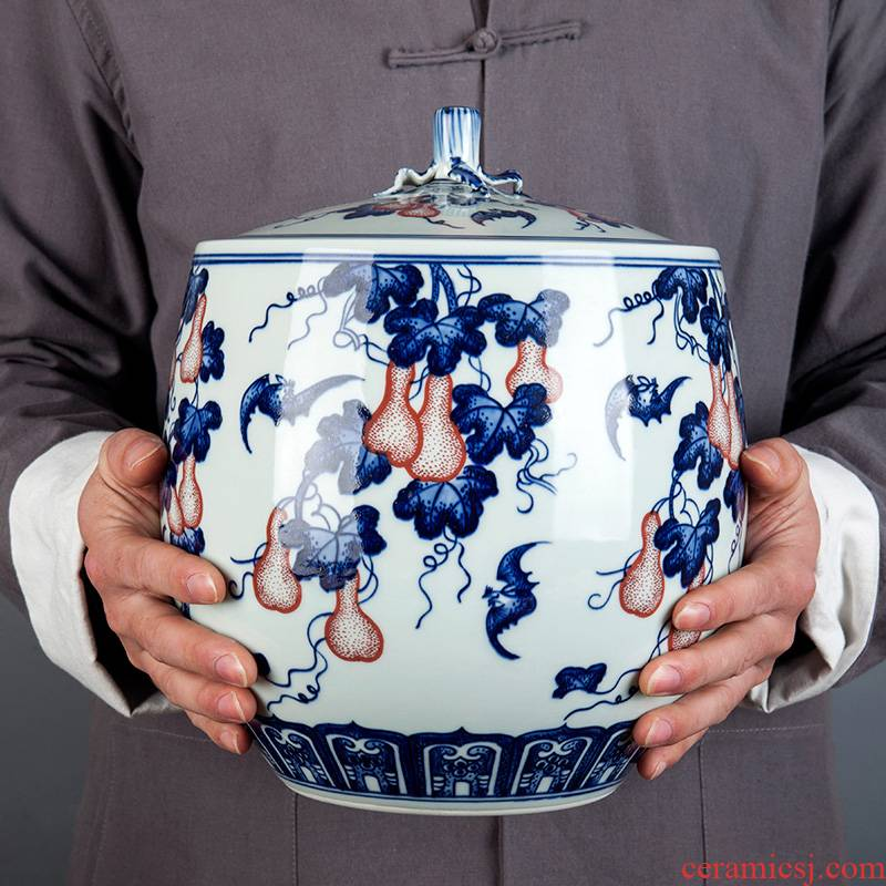 Jingdezhen ceramic tea cake tea pot home large seal tank storage POTS storage place porcelain