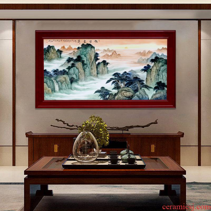 Jingdezhen porcelain plate painting landscape painting artist sun east displayed in the sitting room background wall adornment of Chinese style