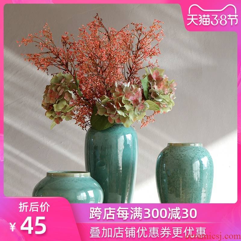 Jingdezhen ceramic little sitting room of Chinese style decoration green vase furnishing articles retro clay coarse pottery hydroponic flowers vase