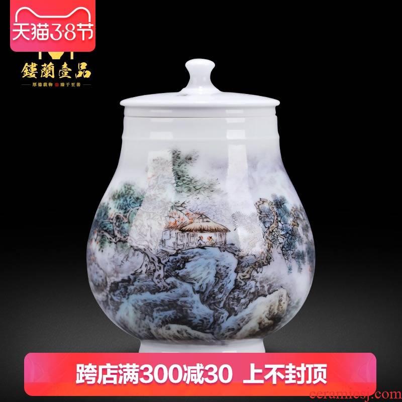 Jingdezhen ceramic all hand - made scenery warehouse sealing caddy fixings tea box storage tank pu - erh tea pot POTS to travel