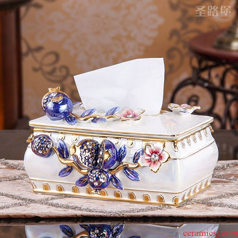 SAN road fort European tissue boxes sitting room home furnishing articles creative ceramic tissue box carton boxes