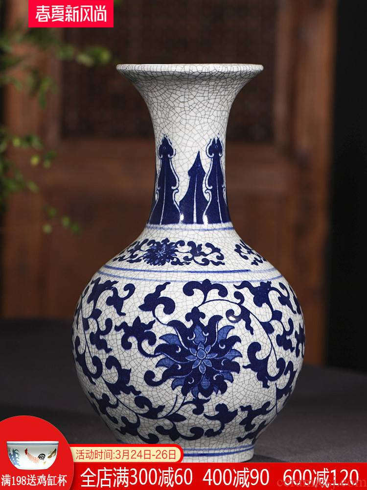 Jingdezhen ceramic blue and white porcelain vase flower arranging Chinese style household furnishing articles, the sitting room porch antique porcelain decoration