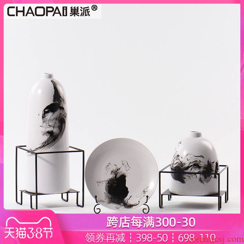 The New Chinese ink painting ceramic flower implement can place porch sitting room ark, side plate decoration TV ark, dried flower vase