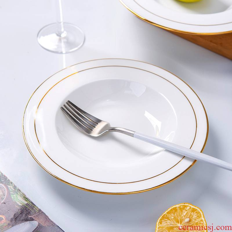 Paint edge hotel hotel western - style food tableware plate of jingdezhen ceramic ipads China household straw hat pasta salad plates