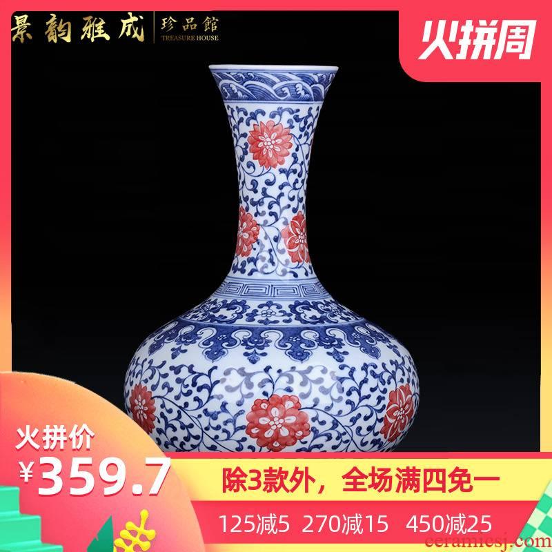 Jingdezhen ceramic hand - made porcelain vase of blue and white porcelain arts and crafts porcelain vase decoration furnishing articles modern flower arrangement