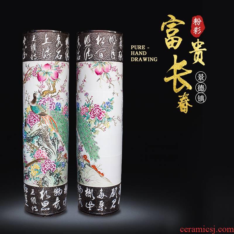 Jingdezhen ceramics powder enamel hand - carved quiver landing big vase villa hotel furnishing articles opening gifts