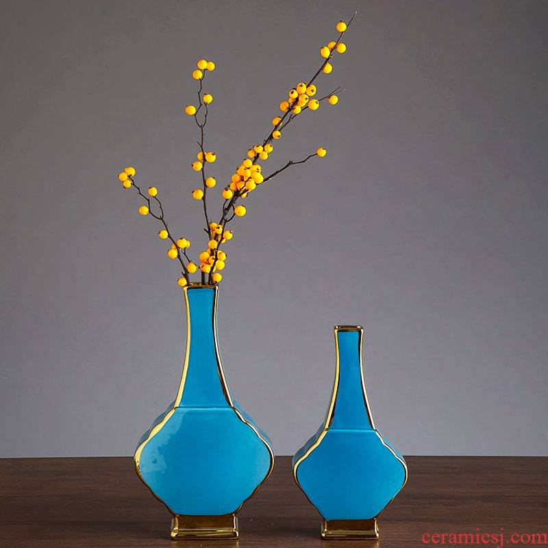 Vase Nordic blue ceramic furnishing articles creative I and contracted dry flower arranging flowers water raise household soft adornment sitting room