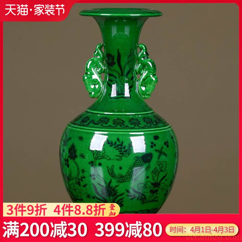 Jingdezhen ceramics, vases, flower arrangement sitting room place green longfeng Chinese style restoring ancient ways is rich ancient frame study ornaments