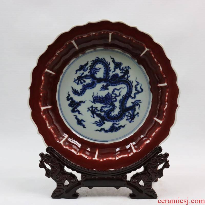 Jingdezhen generic reward of zheng he 's offering gong Ming yongle years offering discount indigo decorative pattern plate plate of restoring ancient ways furnishing articles