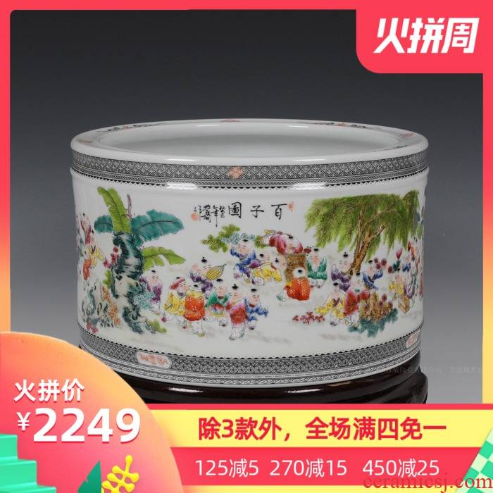 Jingdezhen ceramics with modern fashion the ancient philosophers brush pot super - sized pen sea four master Wang Rongjuan furnishing articles