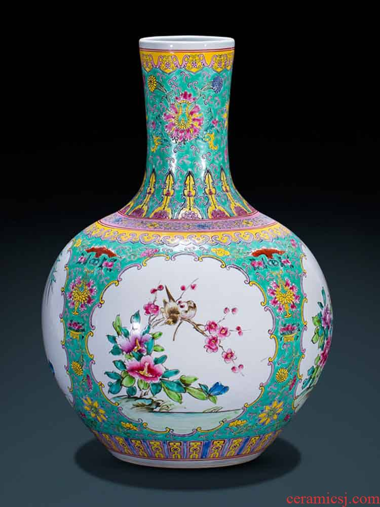 Antique hand - made jingdezhen ceramics powder enamel vase landing Chinese style classical decoration flower arranging furnishing articles large living room