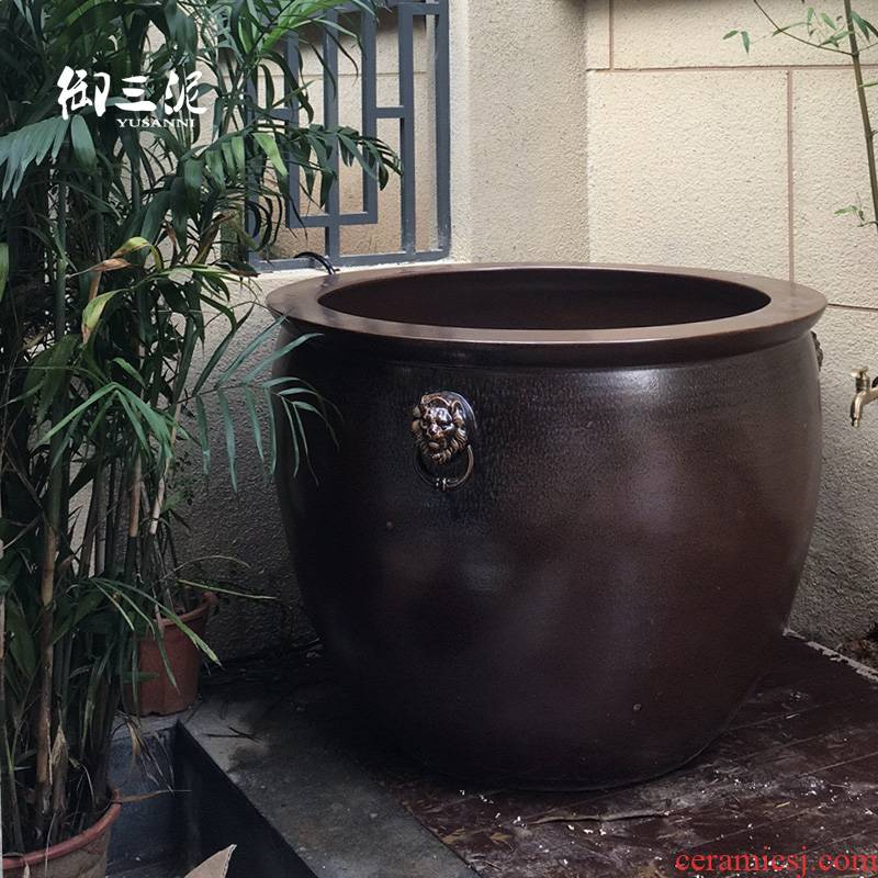Large size extra Large sitting room goldfish bowl jingdezhen ceramic earthenware VAT black pottery tortoise water lily cylinder