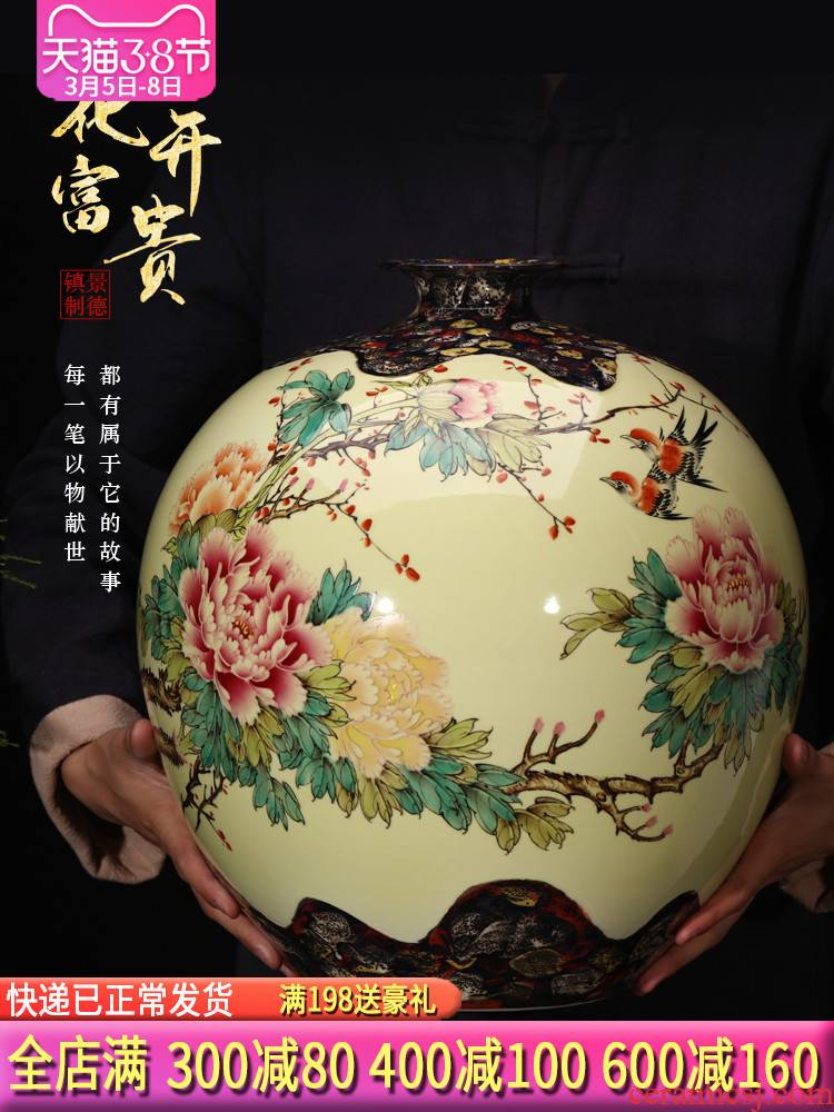 Jingdezhen ceramics masters hand made peony Angle of what large vases, new Chinese style of the sitting room porch decoration furnishing articles