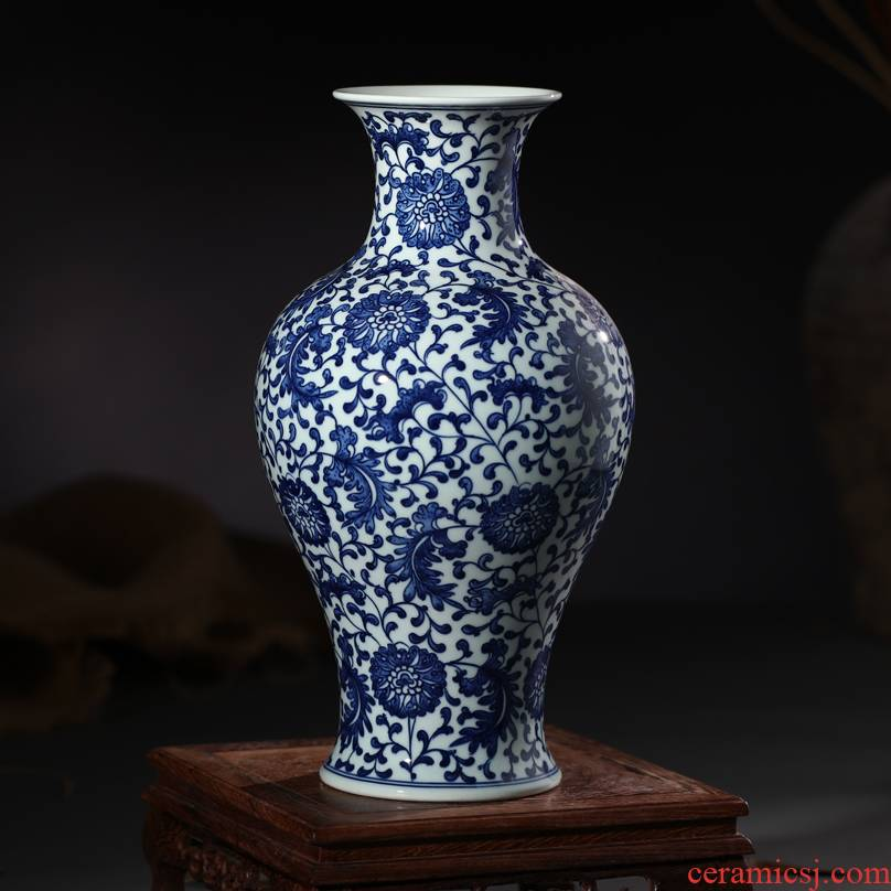 Jingdezhen ceramic blue and white porcelain vase furnishing articles antique hand - made bound branch lotus mesa of Chinese style living room decoration decoration