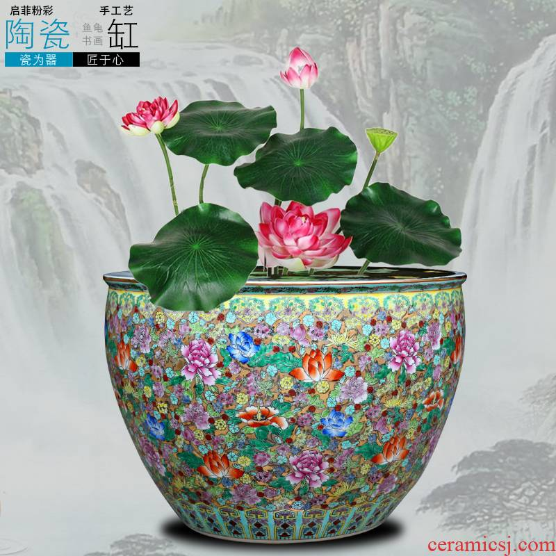 Jingdezhen ceramic cylinder tank water lily bowl lotus feng shui turtle painting and calligraphy calligraphy and painting scroll cylinder ceramics is increasing in furnishing articles